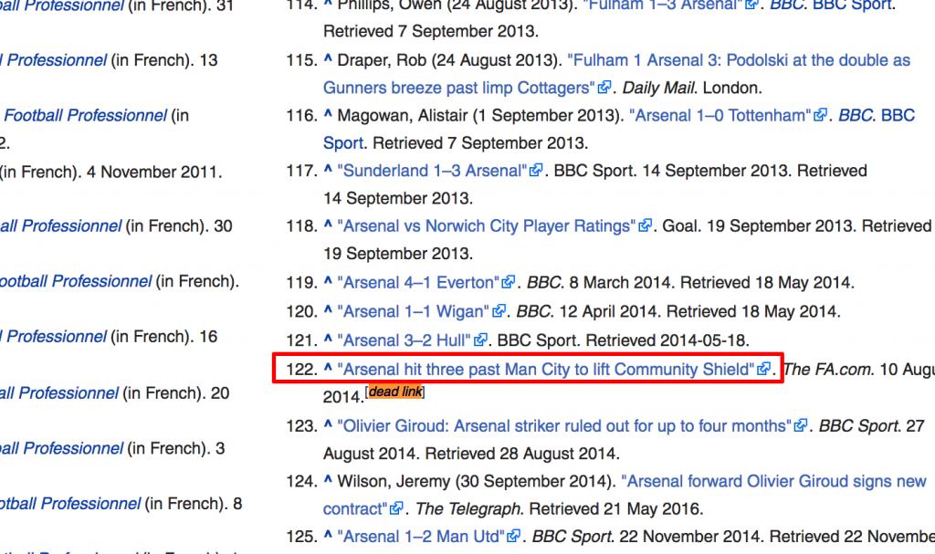 dead link in wikipedia