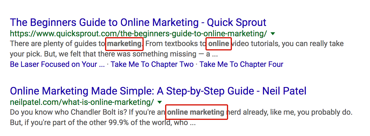related keywords appears as bold texts on SERP snippets