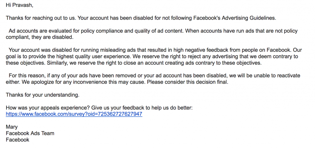 reply i got from Facebook about my flagged ad account