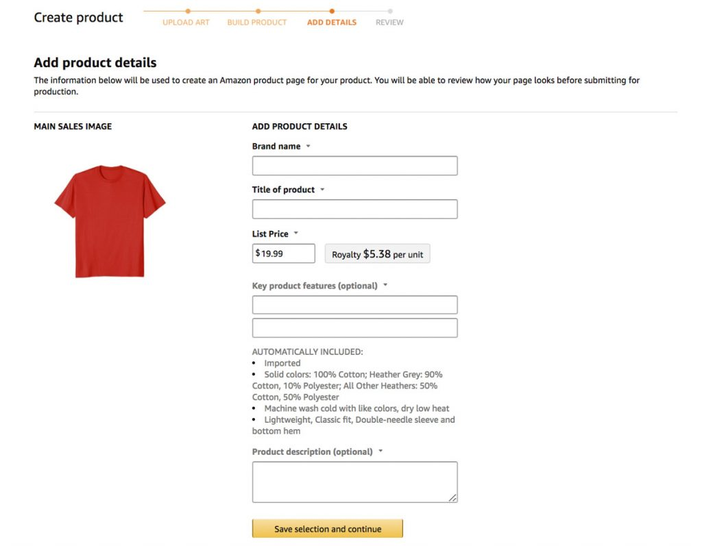 add your t-shirt details before submitting to Merch