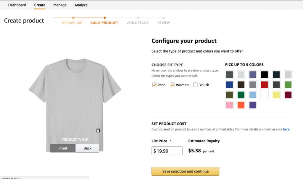 Build your product in Amazon Merch