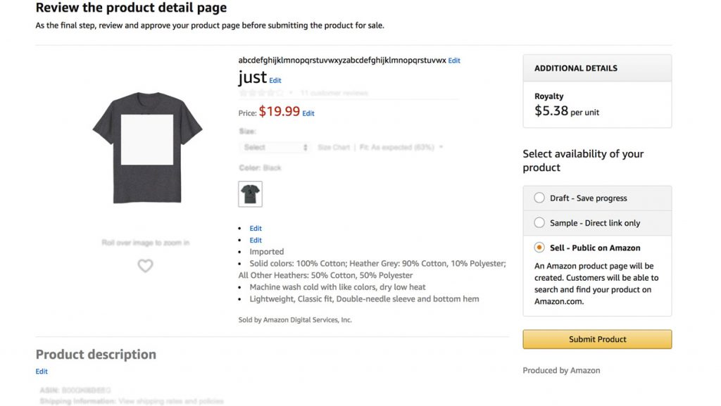 T-shirt review process Merch by Amazon