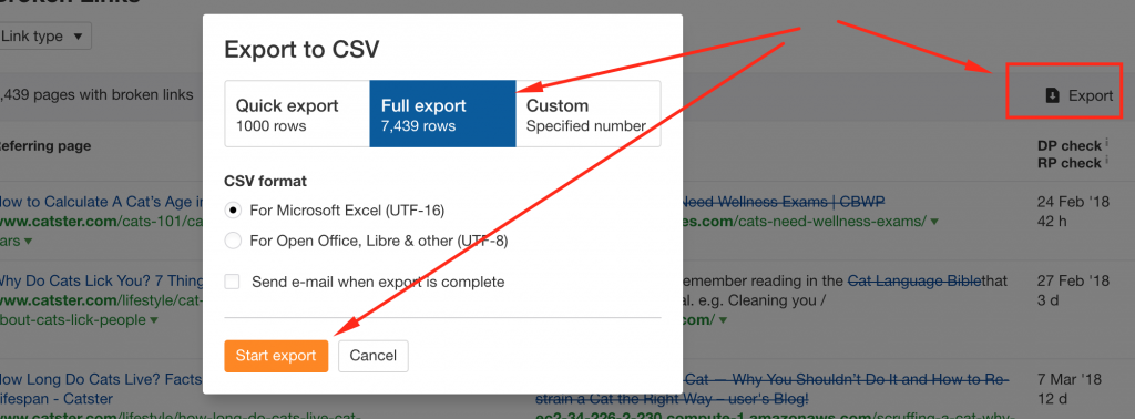 Export url list from ahref
